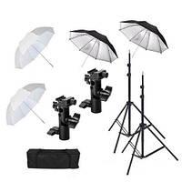 Комплект для фотостудии DOUBLE-4.2 (студийный набор - 4 зонта + 2 стойки + 2 держателя вспышек)