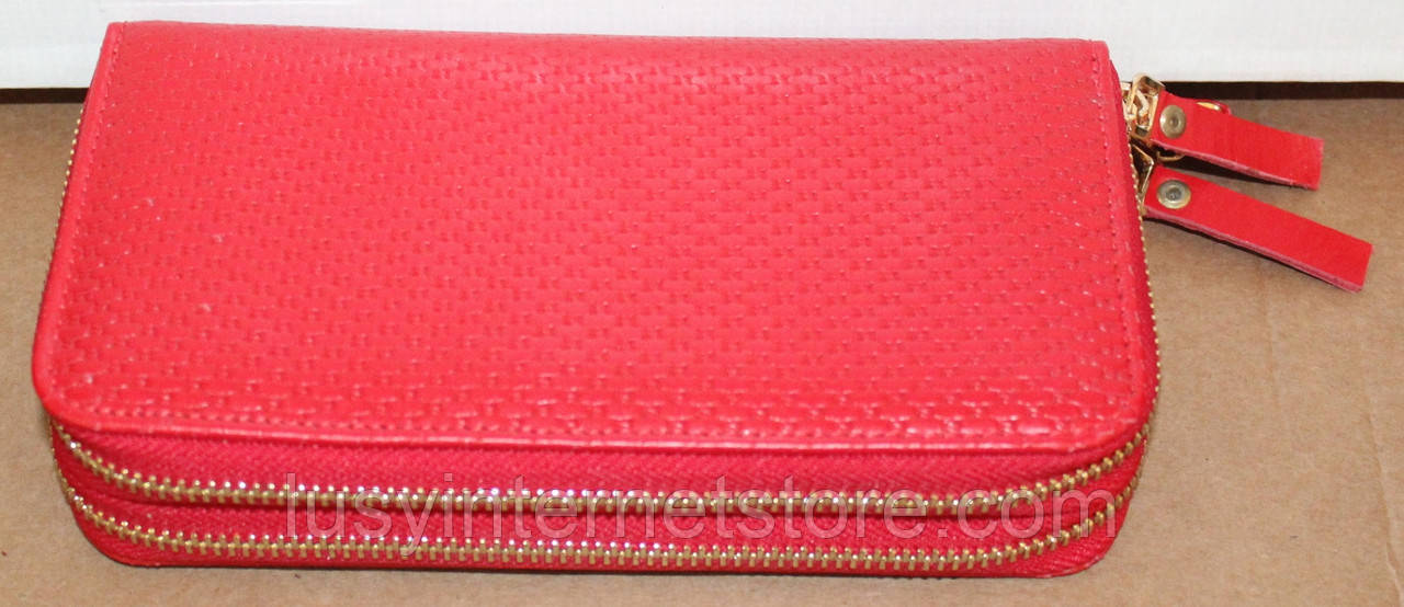 Червоний шкіряний жіночий гаманець від виробника модель БРКБ06