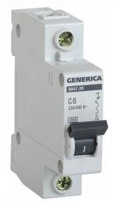 Автоматичний вимикач ВА47-29 1Р 6А 4,5 кА х-ка С GENERICA MVA25-1-006-C