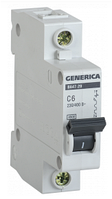 Автоматичний вимикач ВА47-29 1Р 6А 4,5 кА х-ка С GENERICA MVA25-1-006-C, фото 1