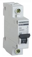 Автоматический выключатель ВА47-29 1Р 6А 4,5кА х-ка С GENERICA MVA20-1-006-C