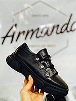 Женские стильные кожаные кроссовки Armando model- A1, черные