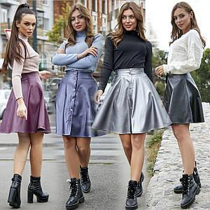 Расклешенная кожаная юбка /разные цвета, S-XL, SEV-1245.3729/