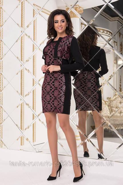 Коктейльное платье 7260e Бордо XL(р)