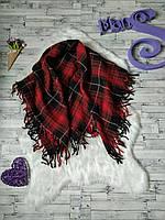 Теплый шерстяной шарф платок палантин в клетку