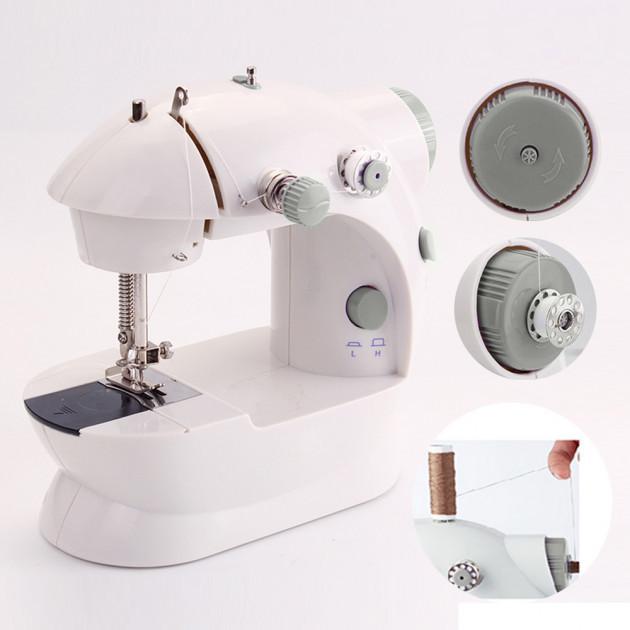 Мини швейная машинка 4в1 FHSM 201 с адаптером. Mini sewing machine K12-17