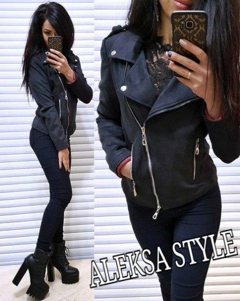 Женская стильная замшевая куртка-косуха,черного цвета