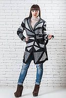 Кардиган женский вязаный  теплый  48-54 серый + черный