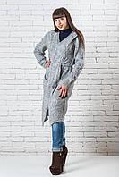 Кардиган женский вязаный  модный 42-50 светло-серый