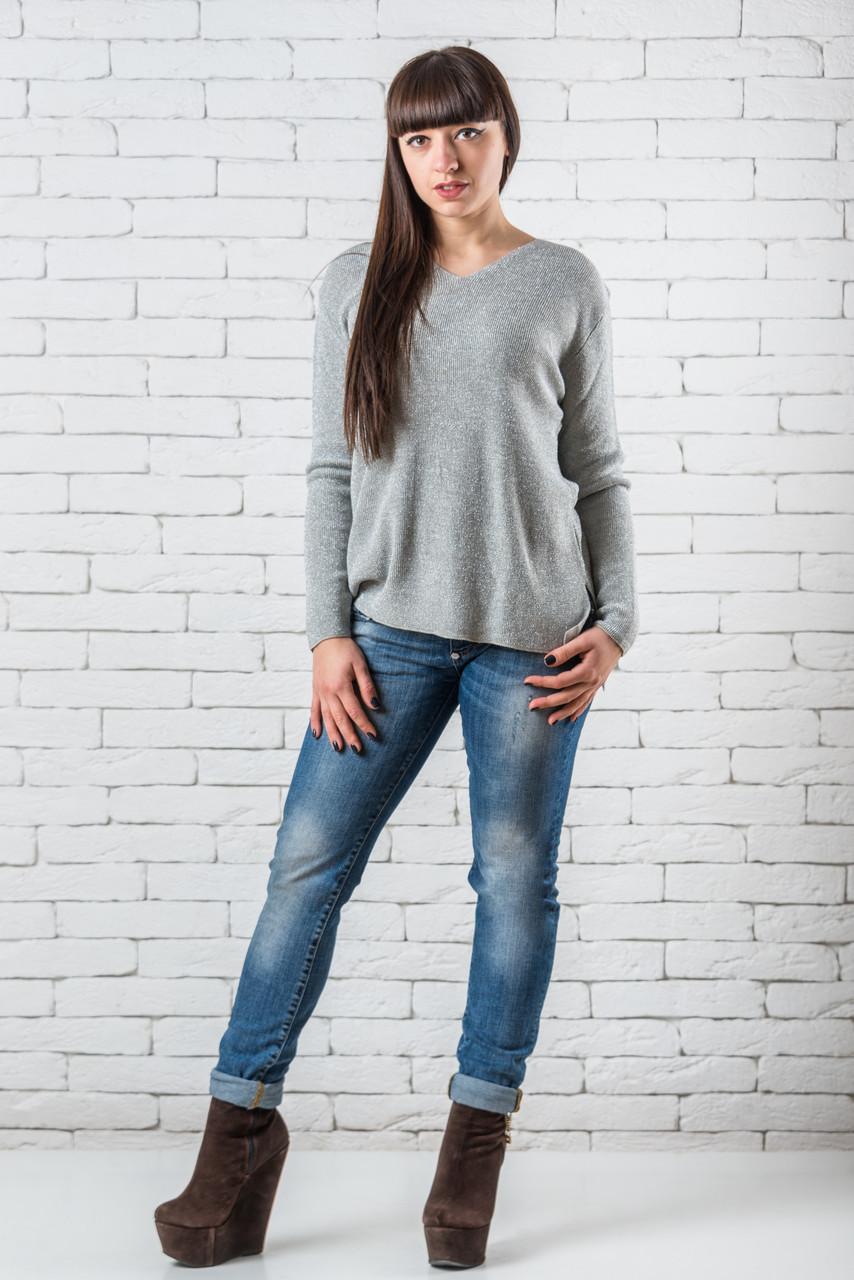 Женский свитер 46-52 светло-серый