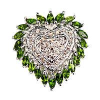 Позолоченное серебряное кольцо Сердце с натуральными Хромдиопсидом и Сапфиром