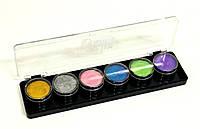 Палитра аквагрим ГримМастер 6 перламутровых цветов по 4 g.