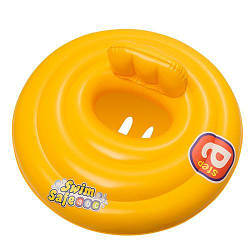Плотик детский надувной круглый с отверстиями для ножек Bestway 69 см, желтый