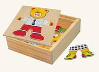Развивающая игра-пазл для ребёнка, шкаф для одежды - мишка Bino (88047)