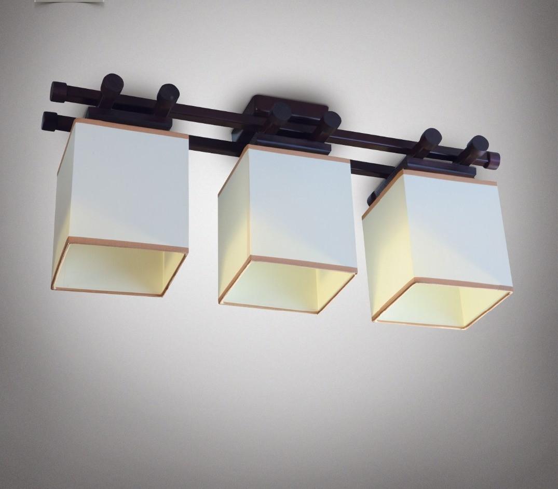 Люстра 3-х ламповая, металлическая, с деревом венге с белыми кубами, спальня, зал, кухня, гостиная 14903-2