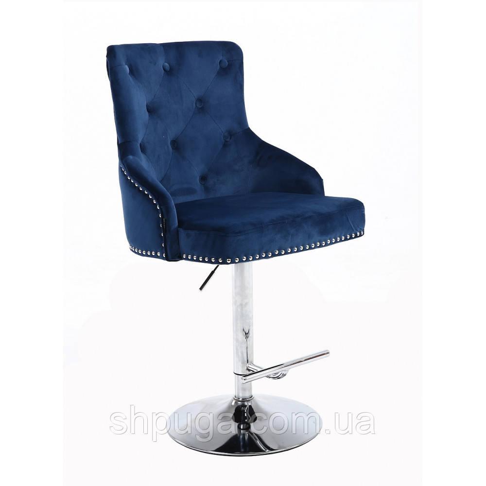 Стул барный хокер HR654 синий велюр пуговицы