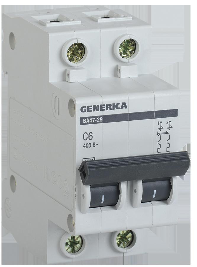 Автоматический выключатель ВА47-29 2Р 50А 4,5кА х-ка С GENERICA (MVA25-2-050-C )