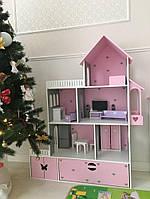 Кукольный домик с мебелью из безопасных материалов, ляльковий будиночок, домик для барби