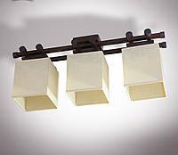 Люстра 3-х ламповая, металлическая, с деревом, спальня, зал, кухня, гостиная