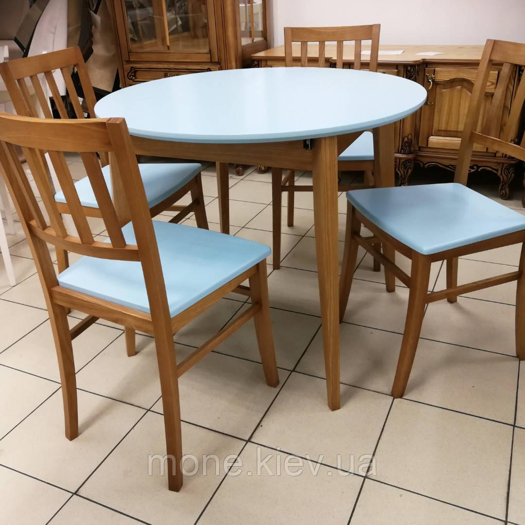 Круглый стол и 4 стула Сицилия диаметр 90 см.+30 см. вставка