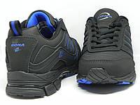 Кроссовки мужские кожаные Bona черные с синими полосами