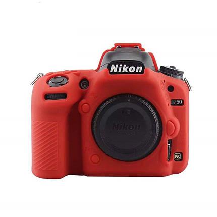 Защитный силиконовый чехол для фотоаппаратов Nikon D750  - красный, фото 2