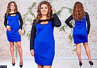 Трикотажное женское платье ярко синего цвета,размеры: 48-50, 50-52