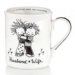 Чашка керамическая для чая, кофе с надписью Муж и Жена 400 мл., белая