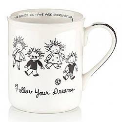 Чашка керамическая для чая, кофе с надписью Мечты 400 мл., белая