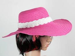 Соломенная шляпа Рестлин 40 см., розово-белая (113123)