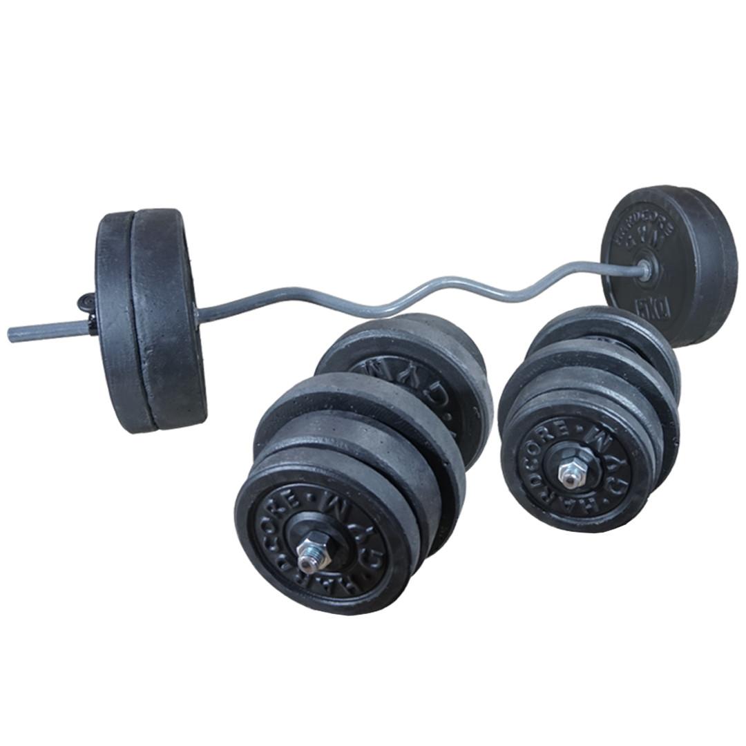 Комплект 108 кг | Штанга W-образная наборная 1.45 м + Гантели 43 см разборные (W-подібна + гантелі розбірні)