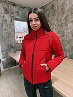 Короткая женская демисезонная куртка на молнии с воротником стойкой 65KU239