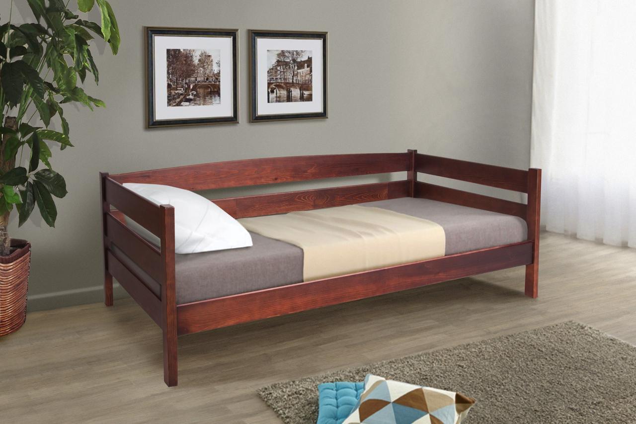 Кровать односпальная деревянная Лева 90 - 200 см (темный орех)