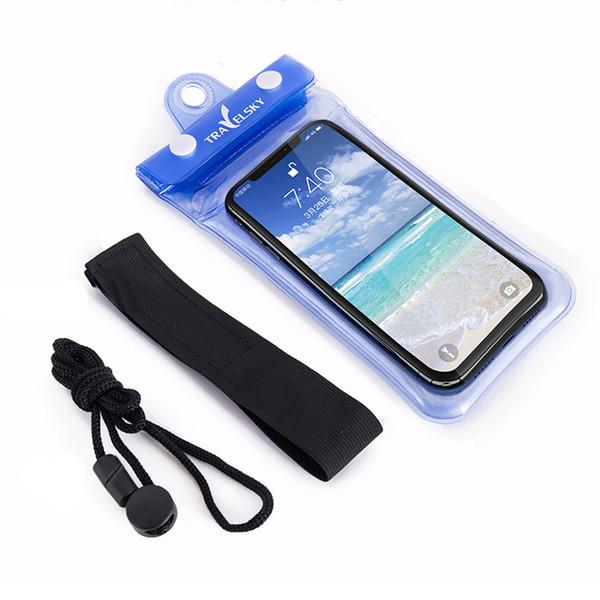 Водонепроницаемый чехол для телефона TravelSky. Прозрачный/синий чехол, защита от воды