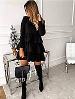 Платье модное с воланом черное