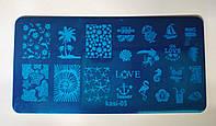 Металические Трафареты для стемпинга  Надпись LOVE Любовь, Пальмы, море , кораблик арт.kasi-05