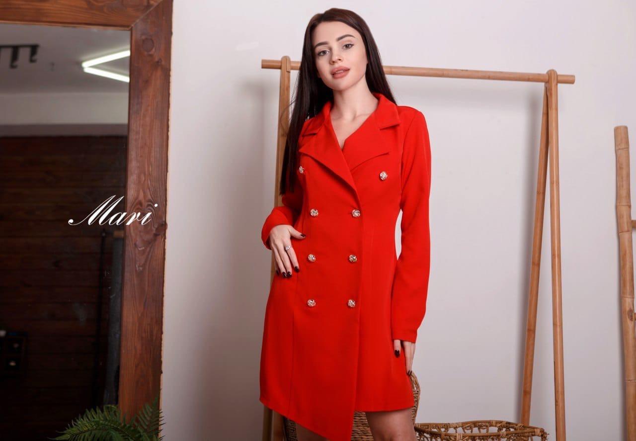 Платье пиджак с асимметричным низом и отложным воротником 6303841