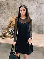 Черное платье трапеция с вставкой сетки в горох 6503848