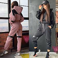Женский спортивный костюм оверсайз с кожаными вставками 7105842