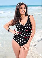 Сплошной женский купальник в горошек с чашками 7825344