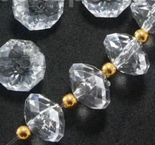 Декоративные кристаллы, бусины- рондели, 14 х 9 мм, 5 шт., для гирлянд, бахромы и др.