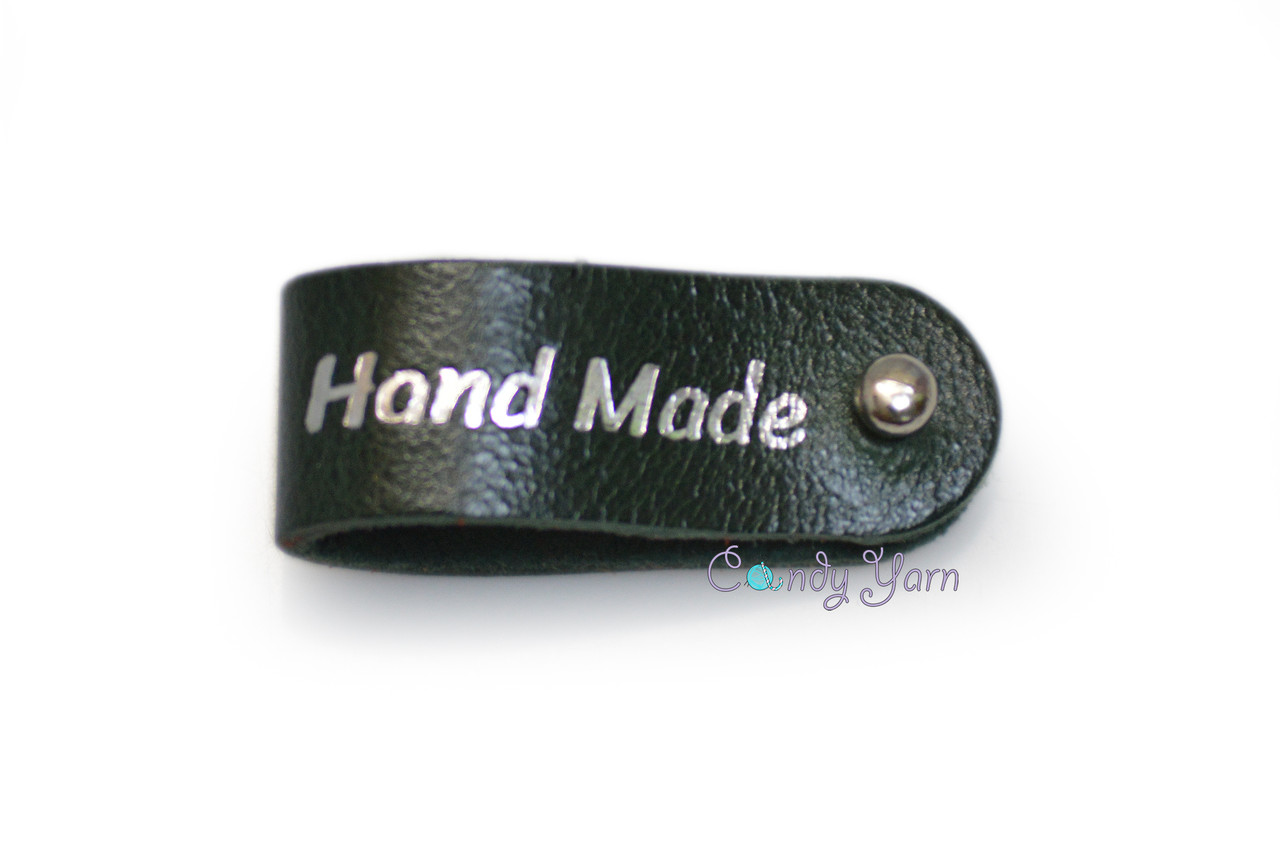 Бирка кожаная Hand made 1.5х9 зеленая серебрянная фольга к/к