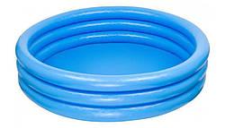 Детский надувной бассейн круглый с ненадувным дном Intex на 330 литров, голубой
