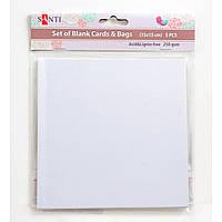 Набор белых перламутровых заготовок для открыток, 15см*15см, 250г/м2, 5шт.