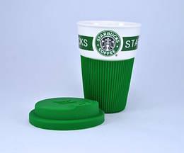 Чашка керамическая для кофе Starbucks с крышкой 350 мл., зеленая