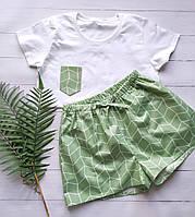 Женская пижама из трикотажной футболки и зеленых сатиновых шортов в ромбы на подарок девушке/жене/подруге