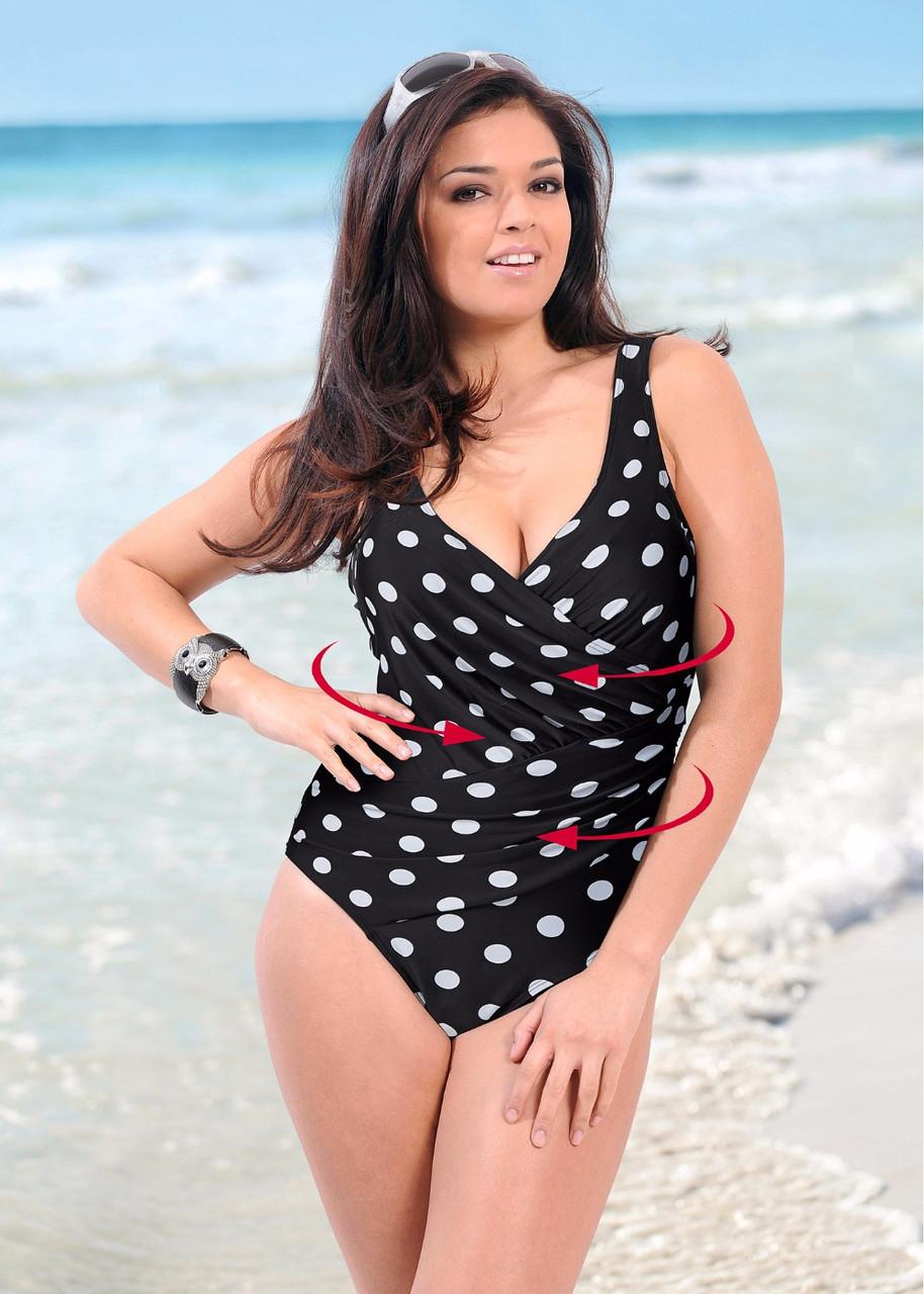 Сплошной женский купальник в горошек с чашками 78kl344