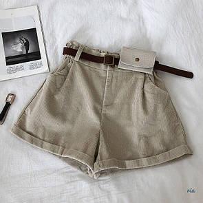 Женские вельветовые шорты с подворотами и поясом 77si352