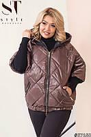 Весенняя женская куртка с укороченными рукавами батал 50-52 54-56 58-60