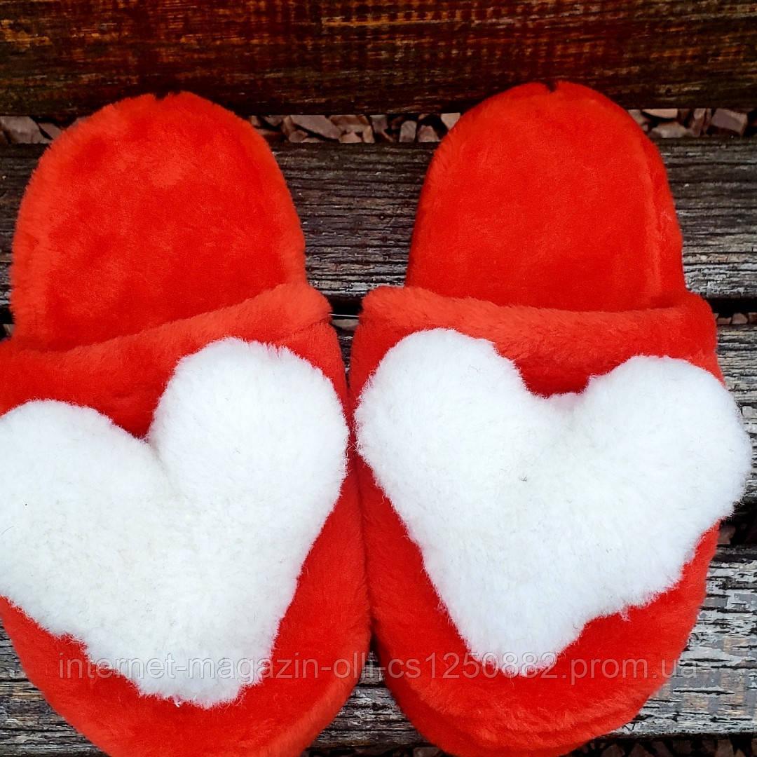 Тапочки красные с сердцами 36-41р